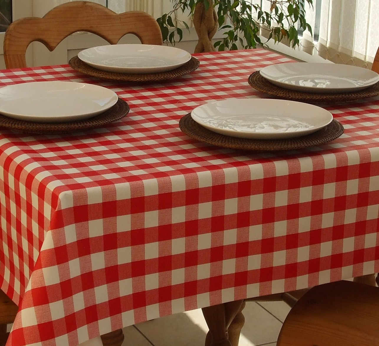 Square Wipe Clean Tablecloth Red Gingham The
