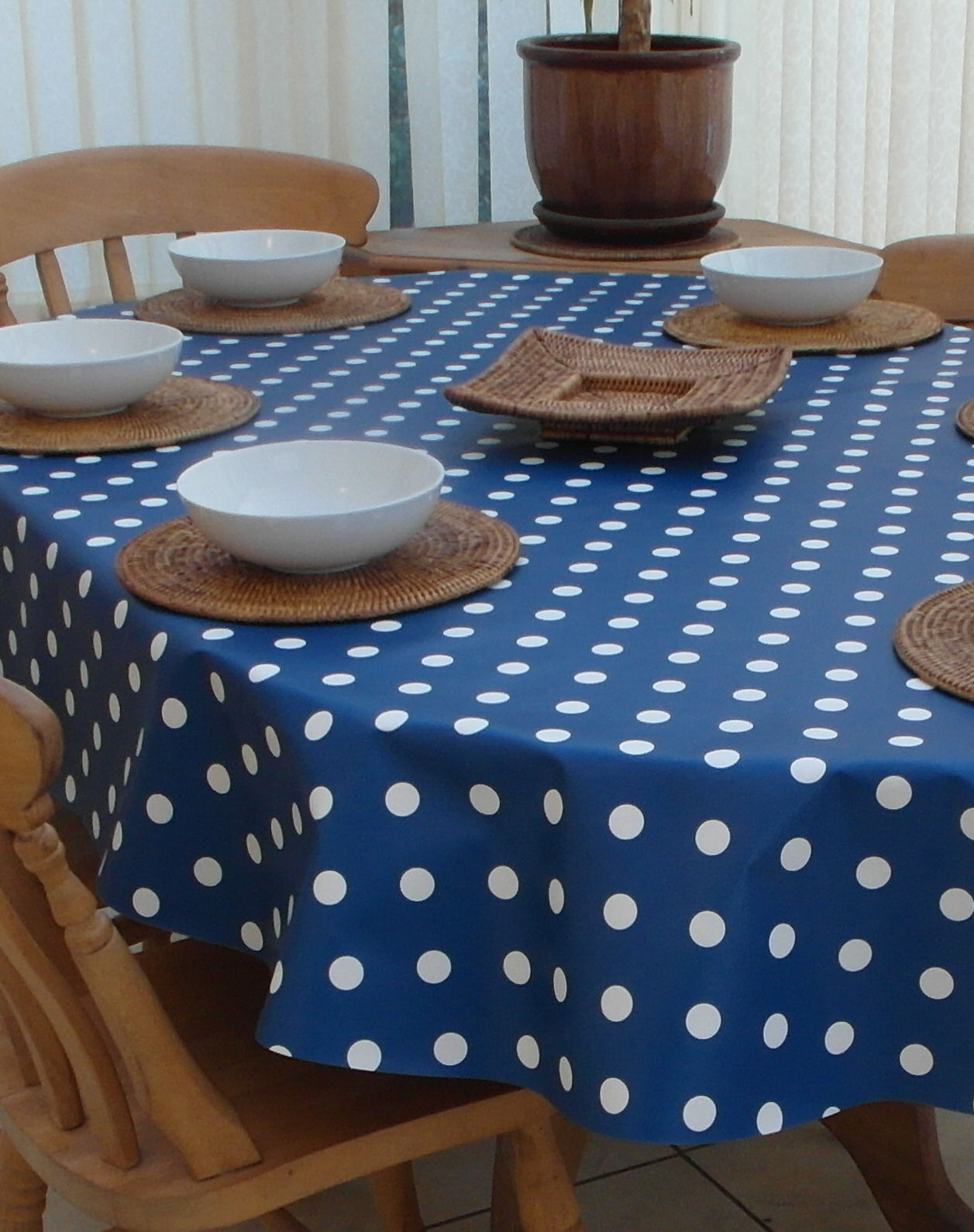 Oval Wipe Clean Tablecloth Blue Polka Dot The