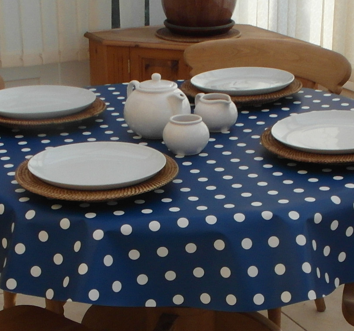 Round Wipe Clean Tablecloth Blue Polka Dot The