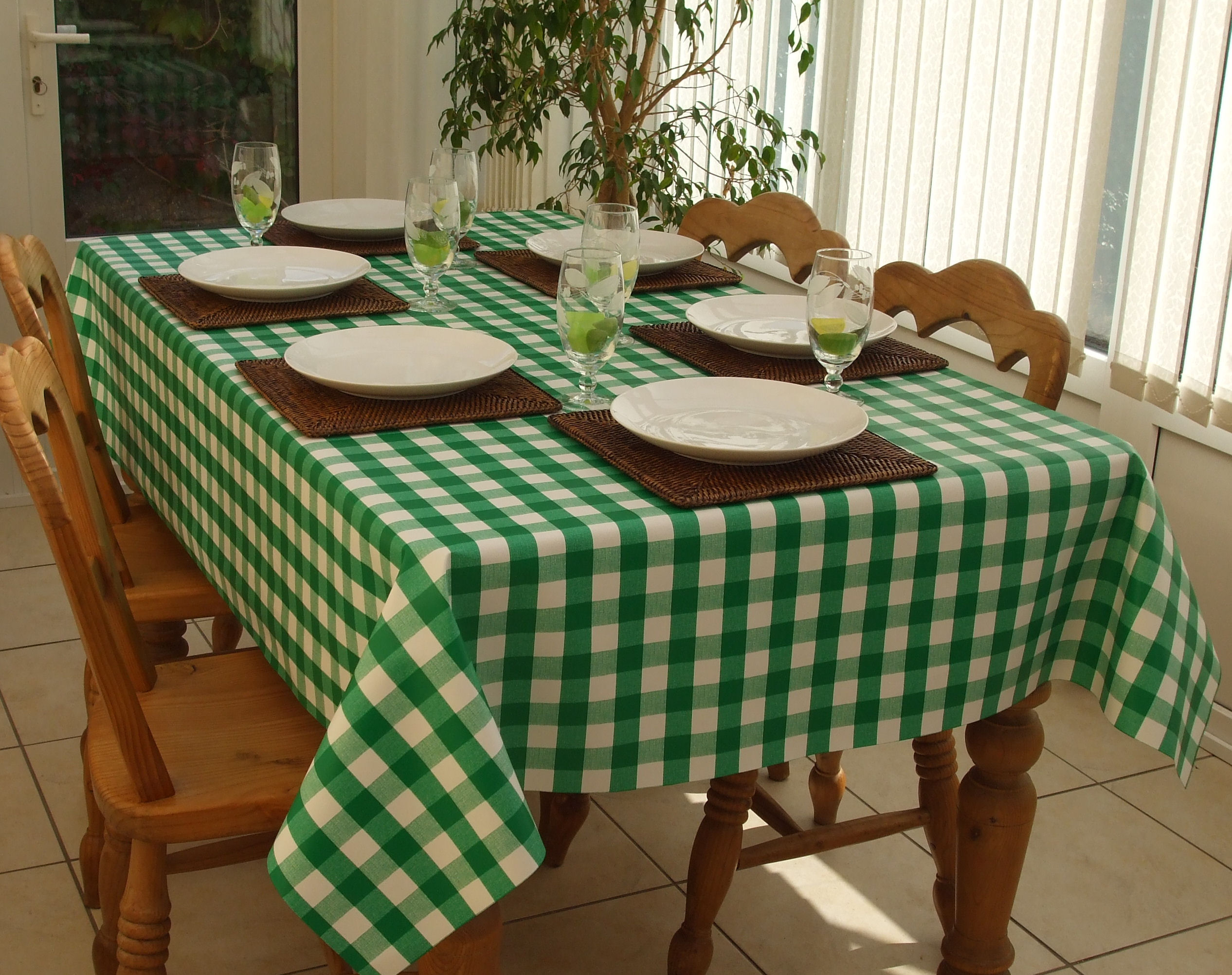 Rectangle Wipe Clean Tablecloth Green Gingham The