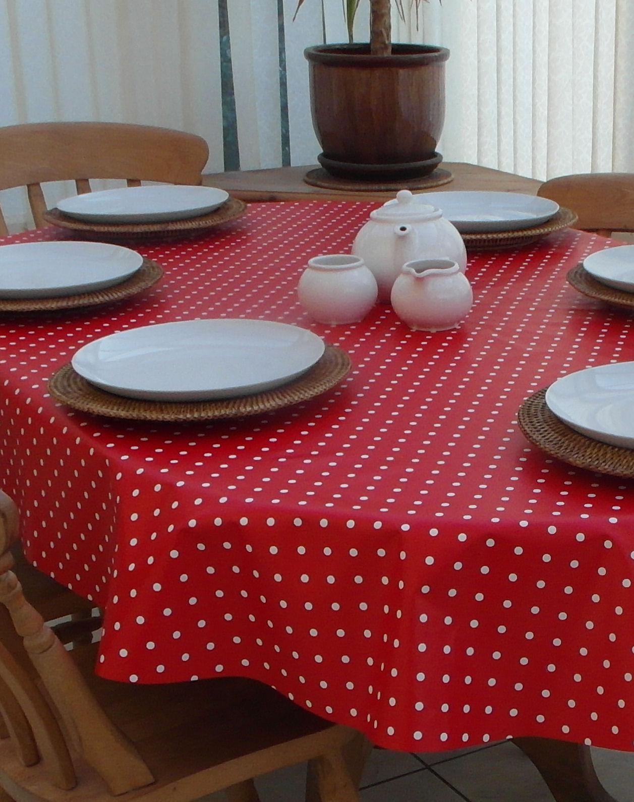 Oval Wipe Clean Tablecloth U2013 Red Polka Dot