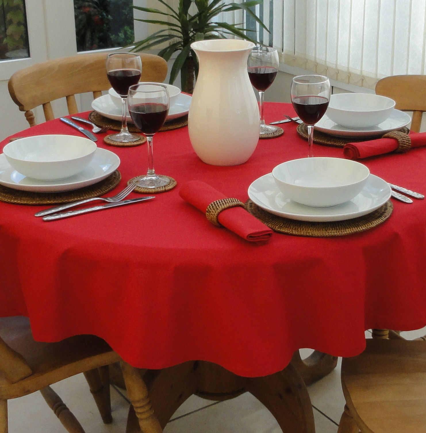 Cotton Collection Red 4 Seater Round The Tablecloth Company
