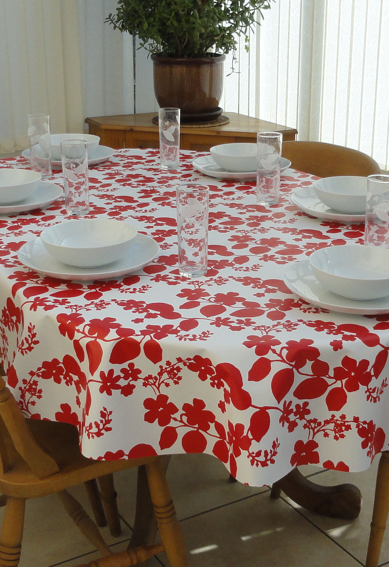 Oval Wipe Clean Tablecloth Red Flower The Tablecloth