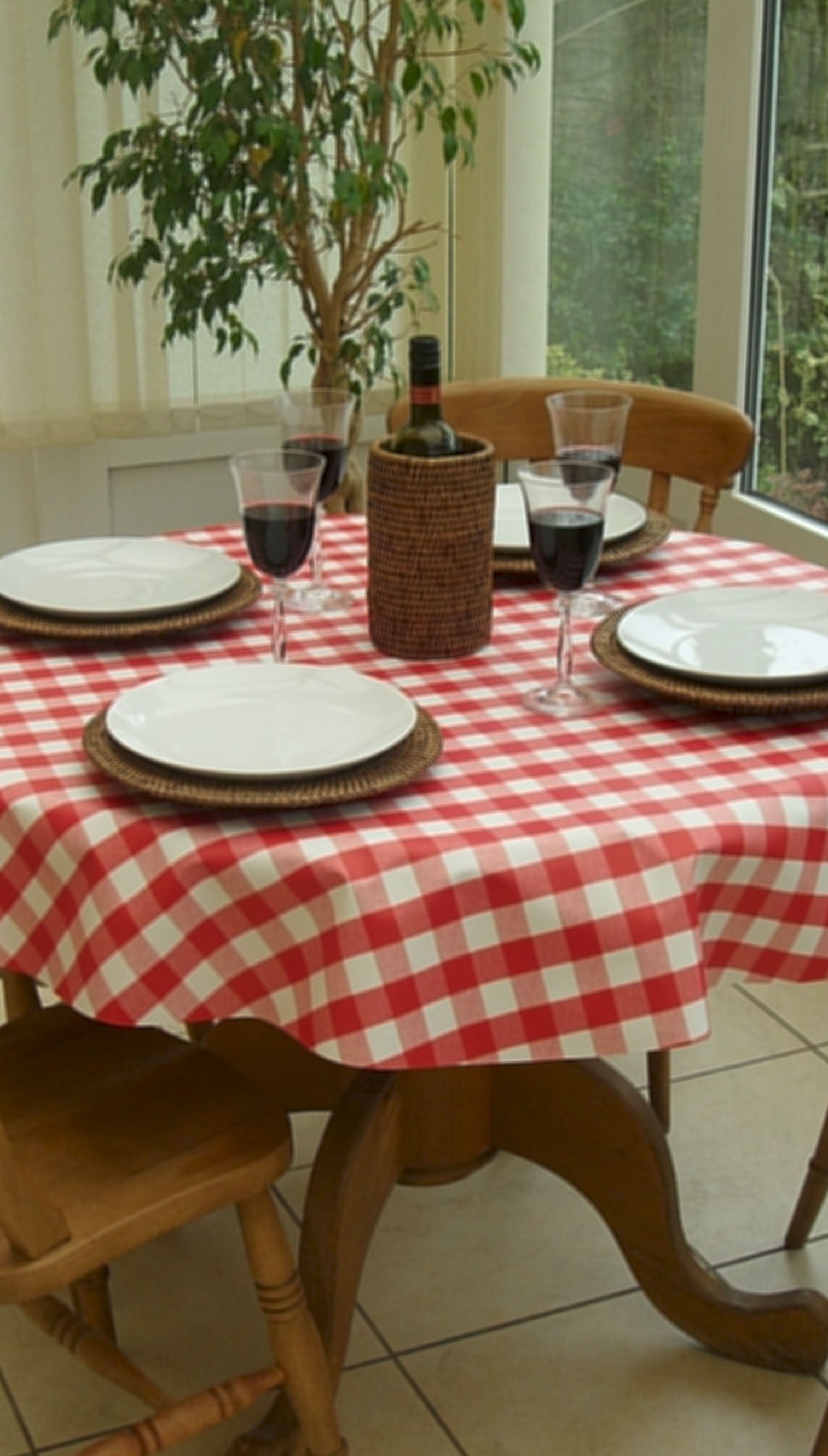 Round Wipe Clean Tablecloth Red Gingham The Tablecloth