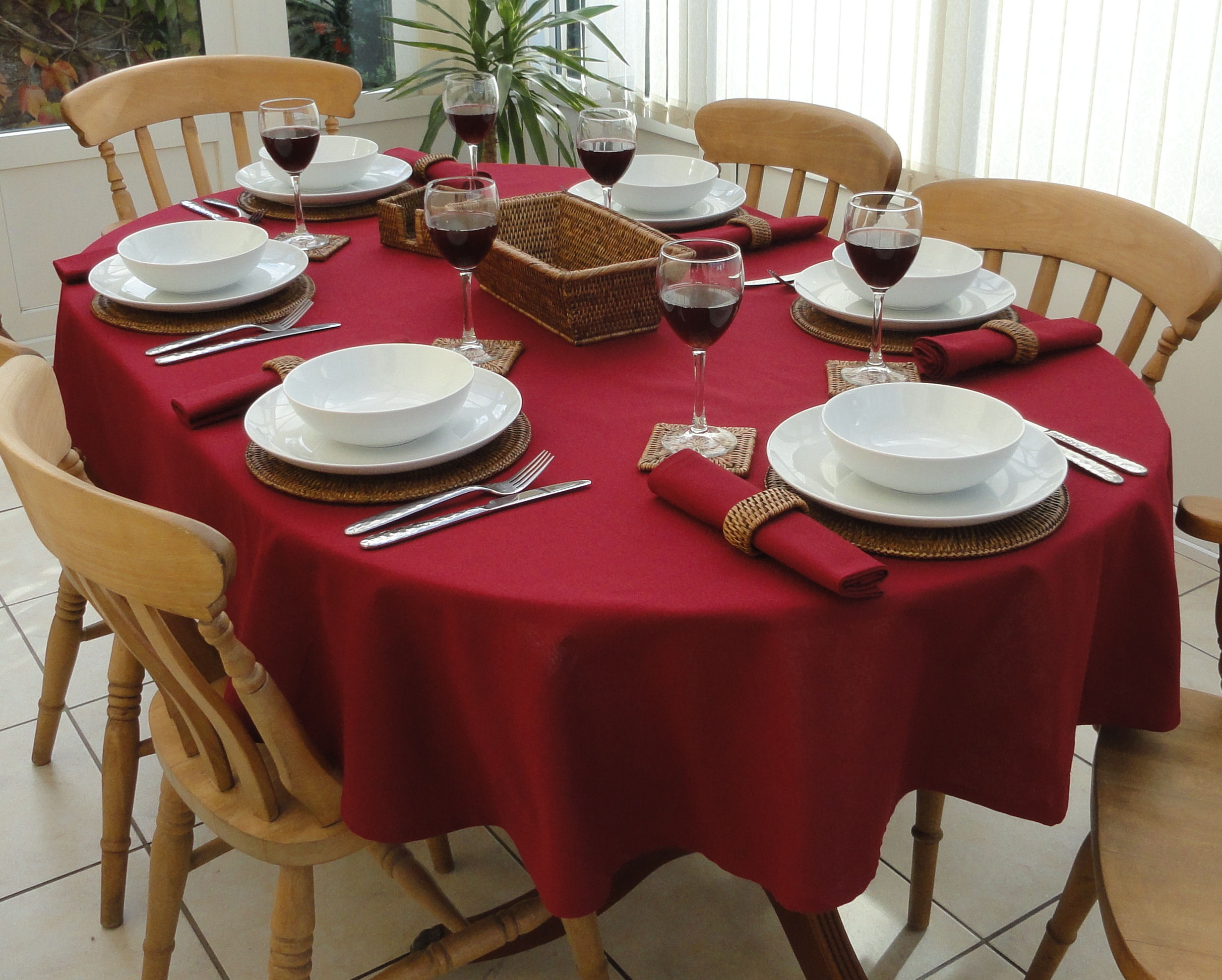 Cotton Collection Wine Oval The Tablecloth Company