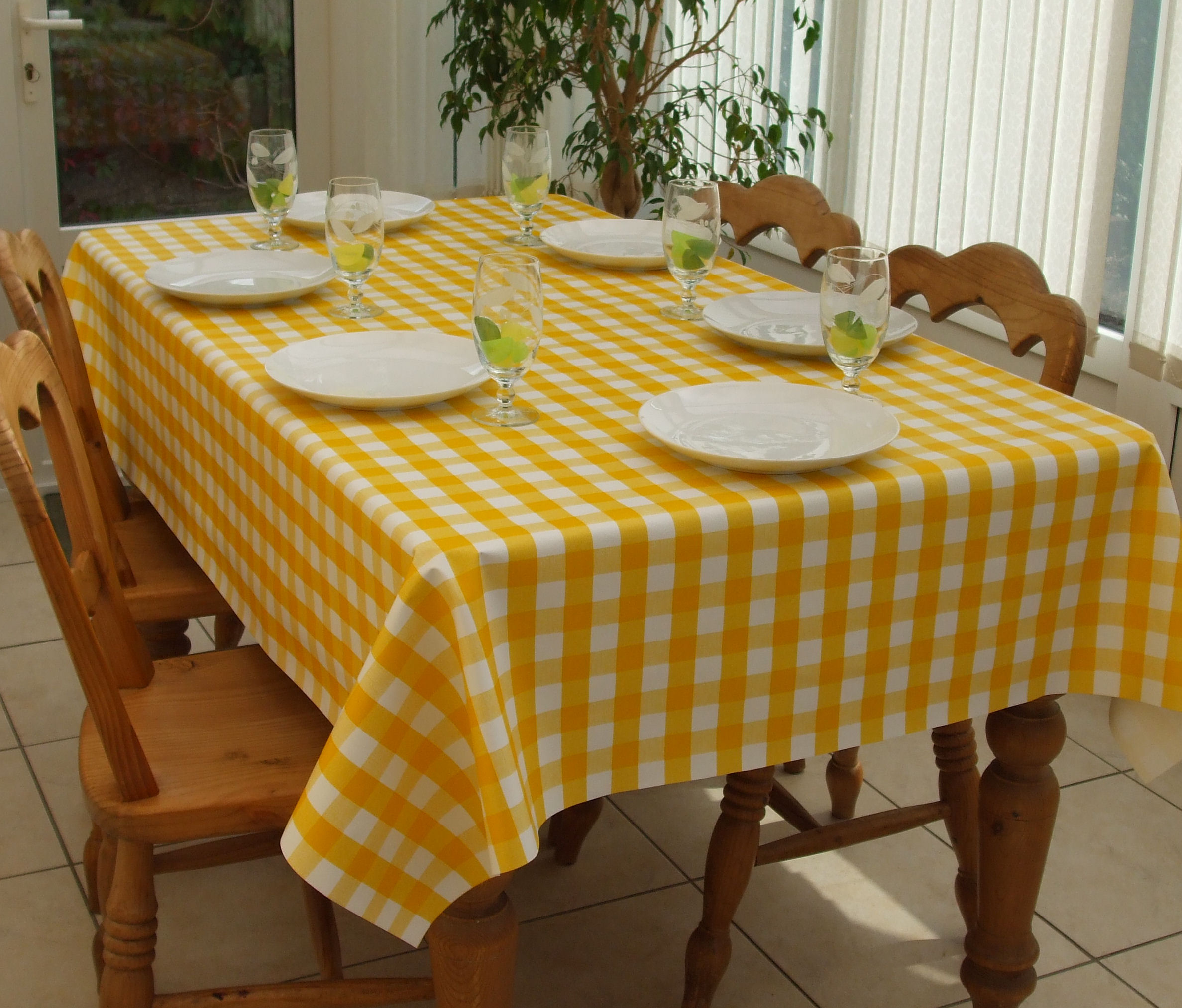 Rectangle Wipe Clean Tablecloth Yellow Gingham The