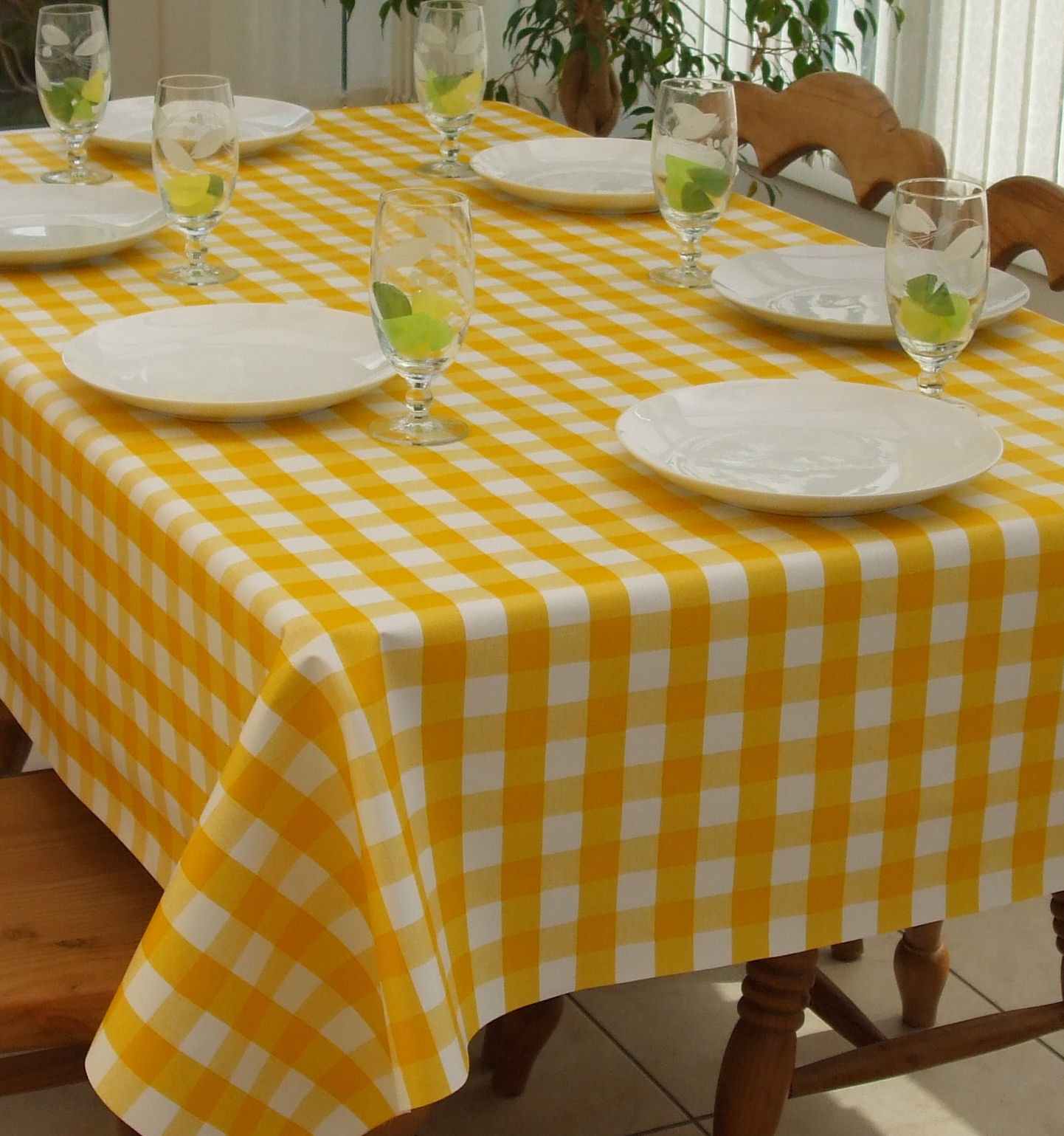 Superbe Rectangle Wipe Clean Tablecloth Yellow Gingham The
