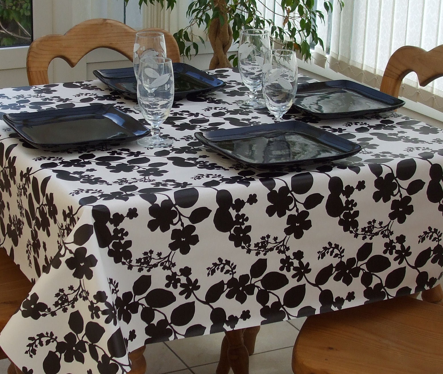 Square Wipe Clean Tablecloth Black Flower The