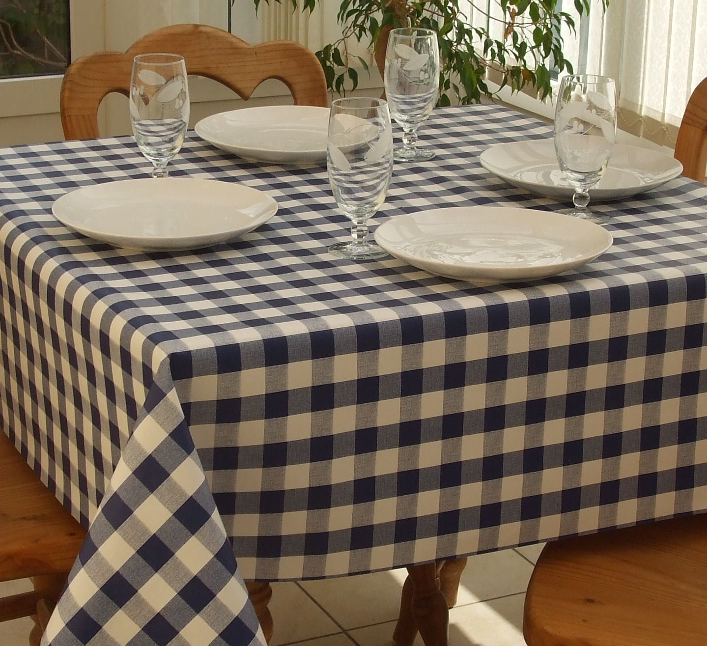 Square Wipe Clean Tablecloth Blue Gingham The