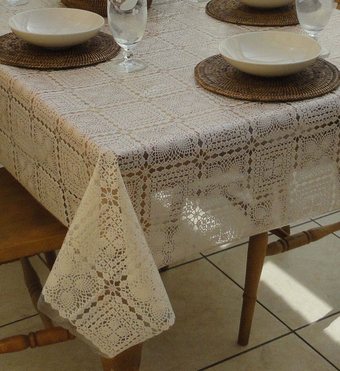 Square Wipe Clean Tablecloth Cream Lace The Tablecloth