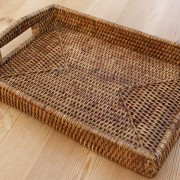 Rectangle Rattan Tray With Handles The Tablecloth Company