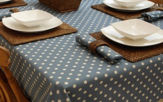 VINTAGE BLUE POLKA DOT RECTANGLE