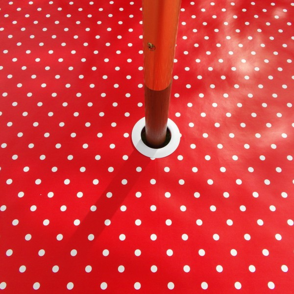 RED POLKA DOT WITH PARASOL HOLE