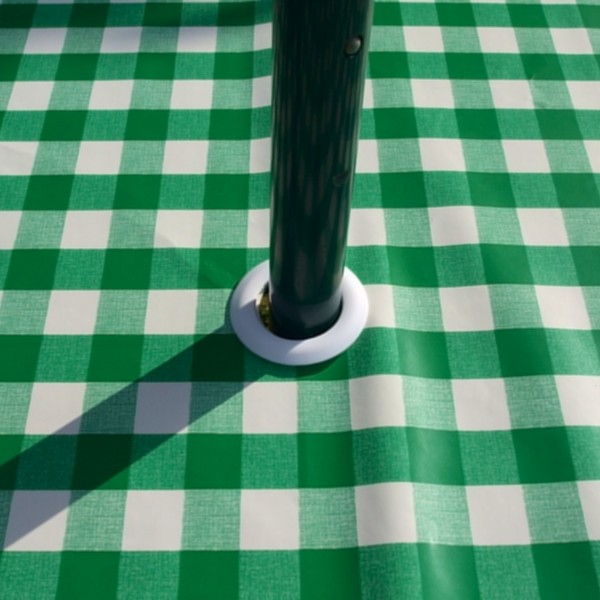Oval Wipe Clean Tablecloth With Parasol Hole U2013 Green Gingham