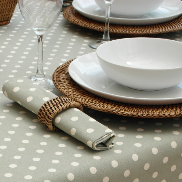 Vintage Collection Sage Polka Dot Round The Tablecloth