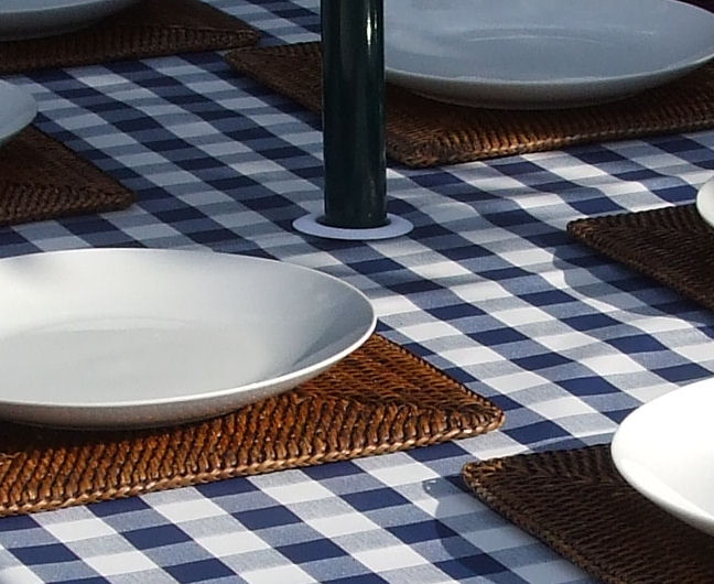 Square Wipe Clean Tablecloth With Parasol Hole Blue