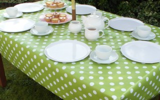 LIME POLKA DOT RECTANGLE WITH PARASOL HOLE