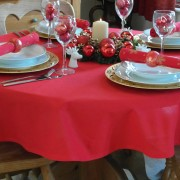 COTTON COLLECTION RED ROUND TABLECLOTH