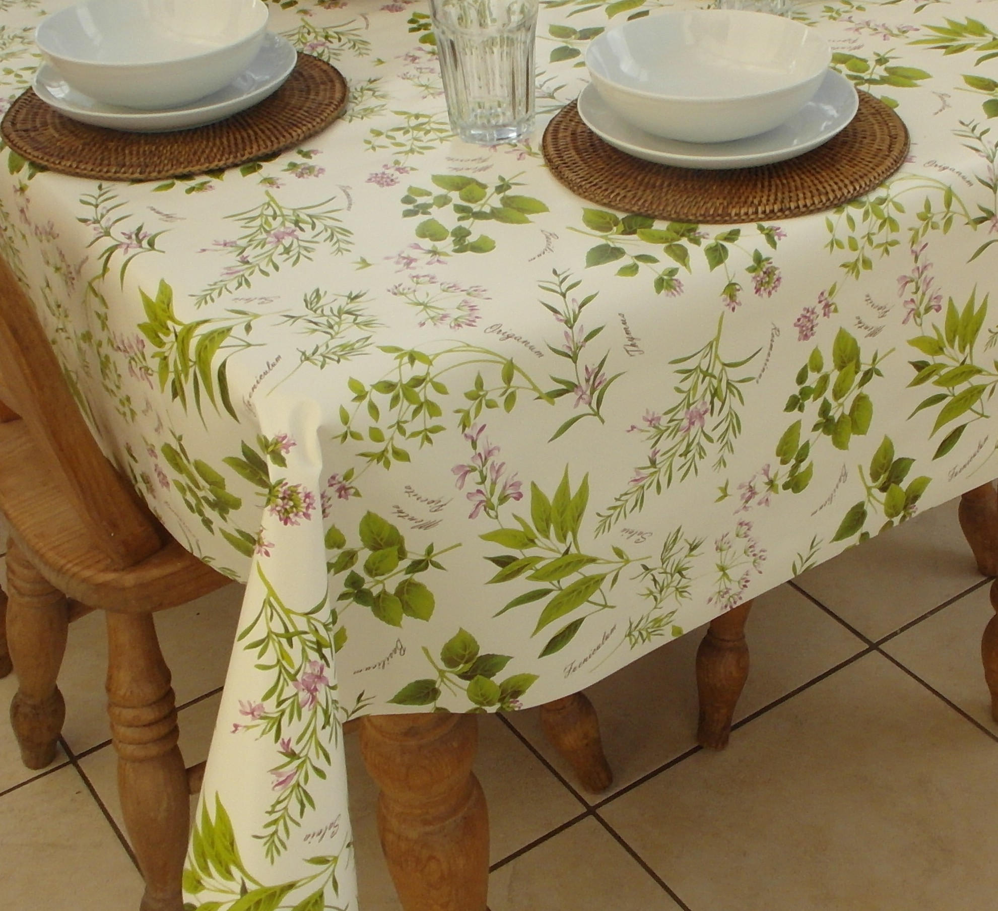 Square Wipe Clean Tablecloth Herb Garden The
