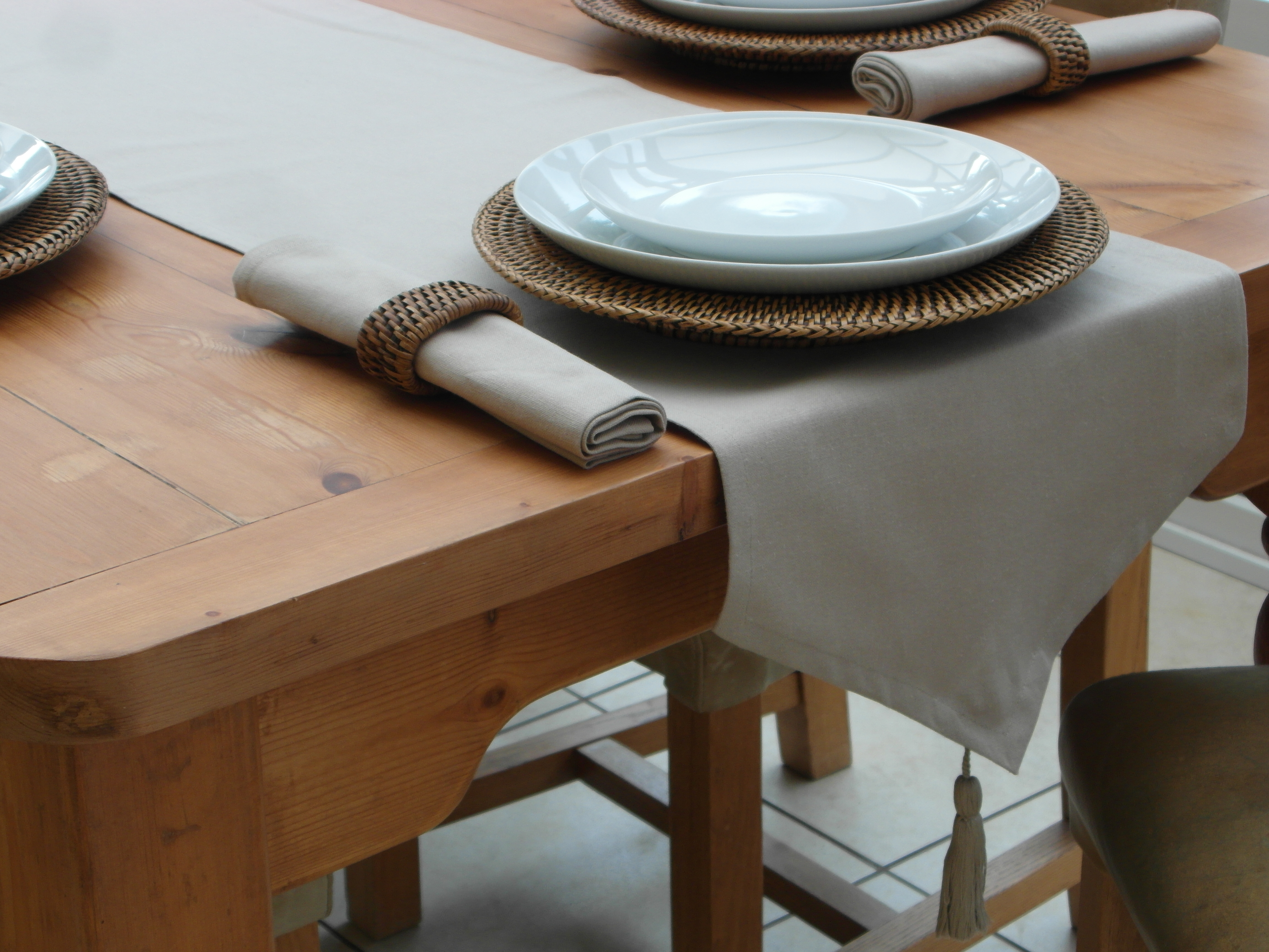 Cotton Collection Taupe Table Runner