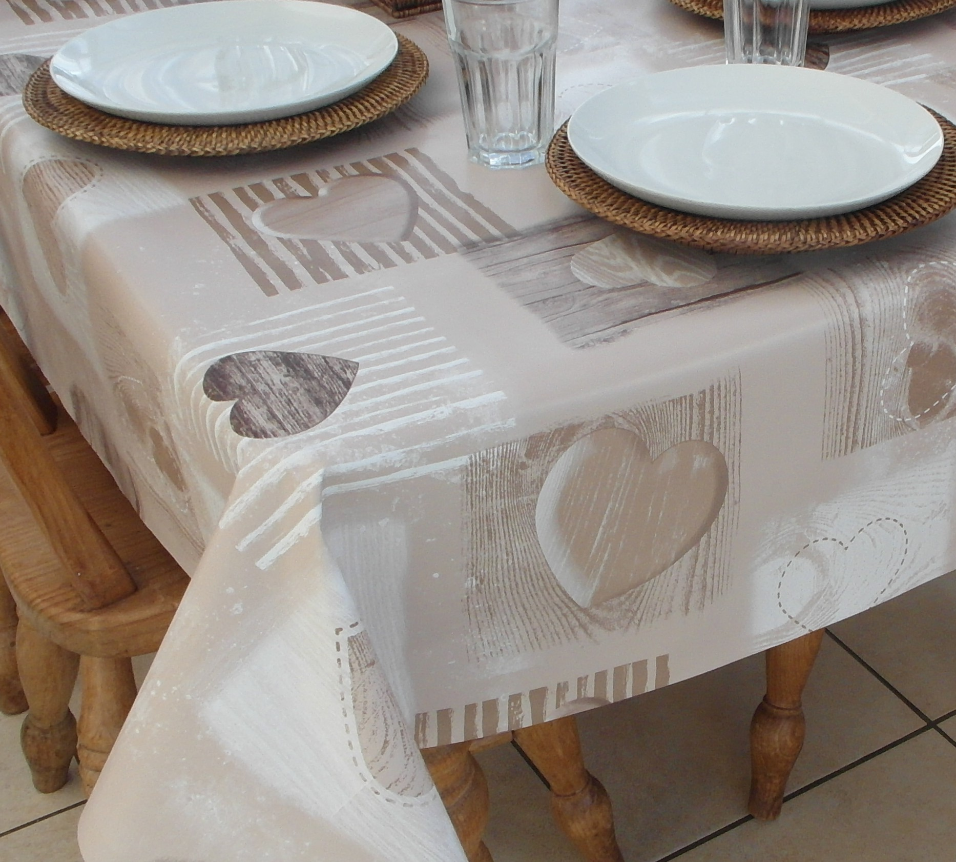 Square Wipe Clean Tablecloth Beige Wooden Heart The