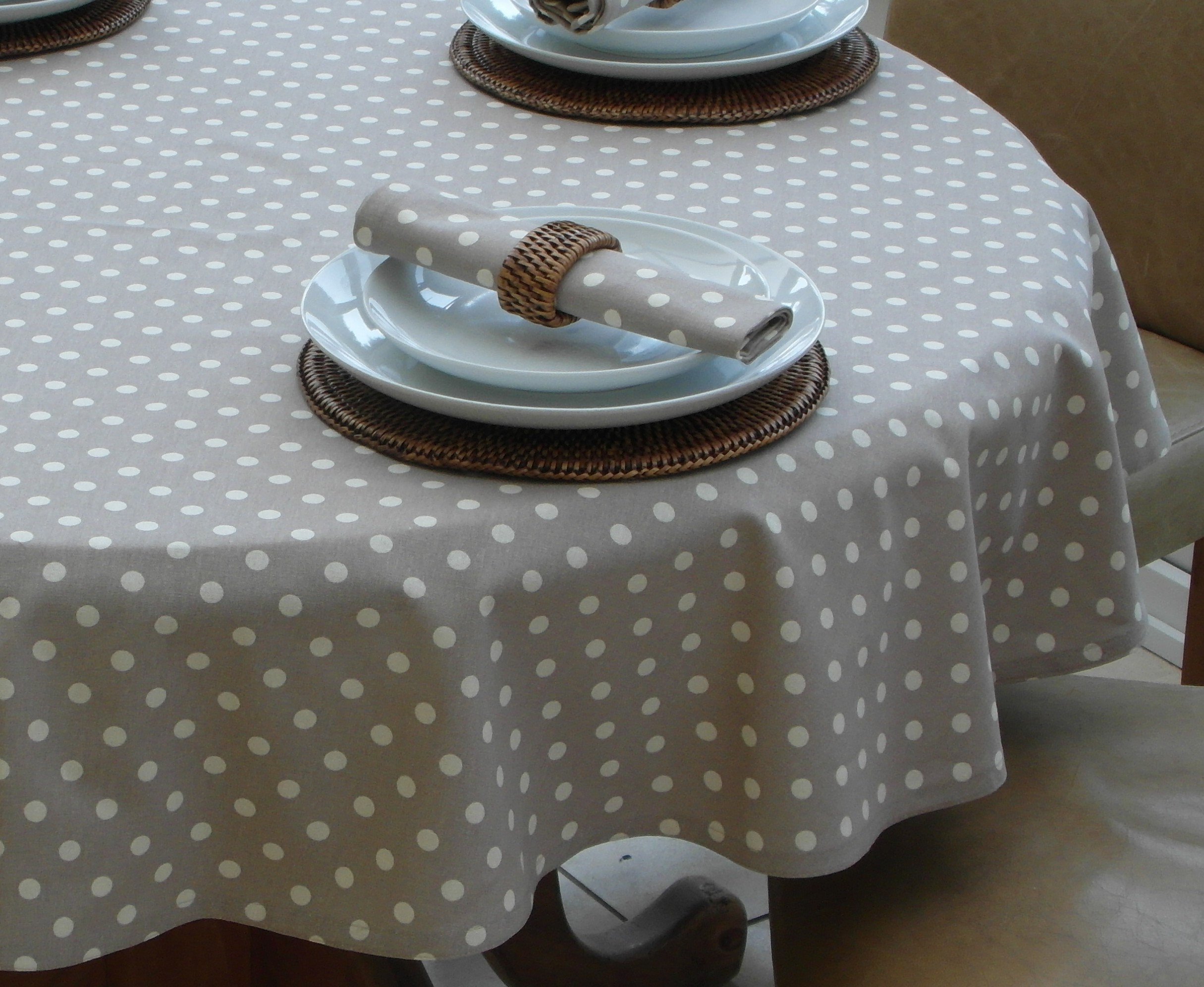 Vintage Collection Taupe Polka Dot Round The Tablecloth
