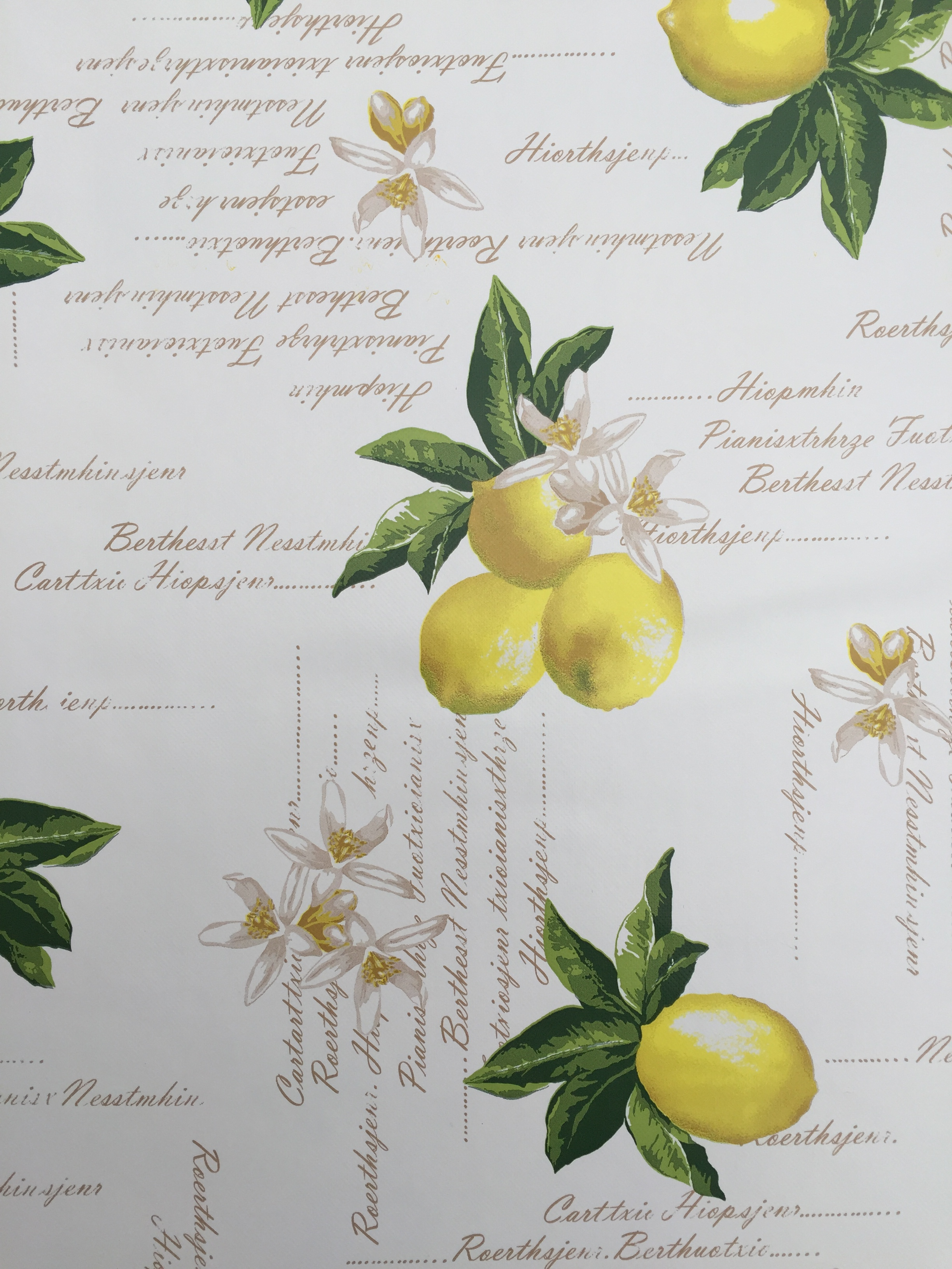 Square Wipe Clean Tablecloth With Parasol Hole Lemons