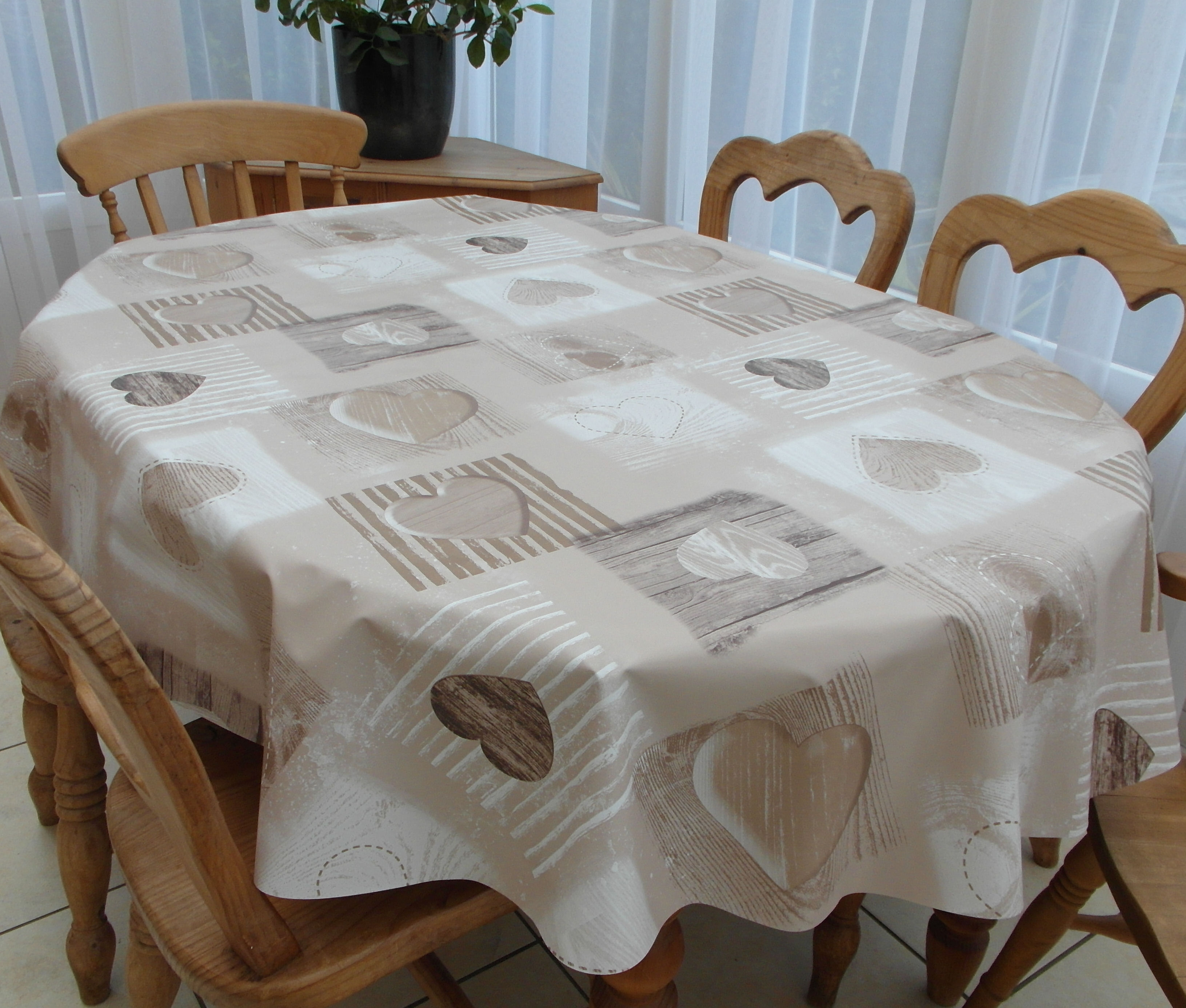 Oval Wipe Clean Tablecloth Beige Wooden Heart The