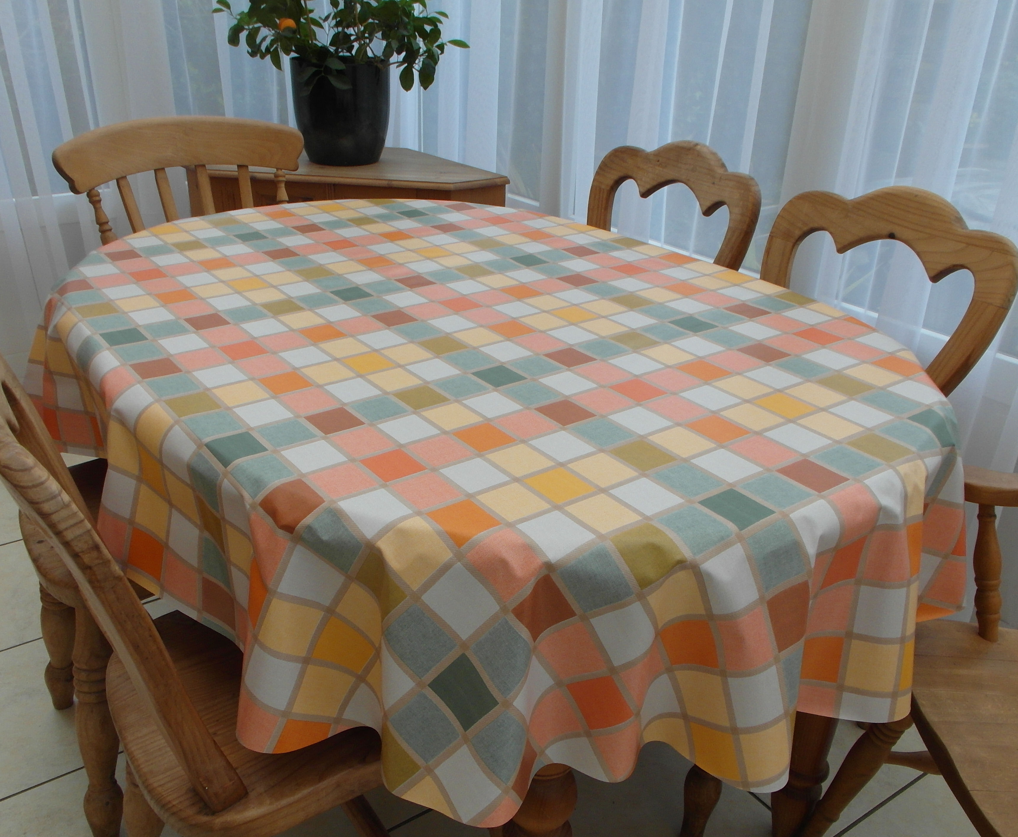 Oval Wipe Clean Tablecloth Candy Multi Check The