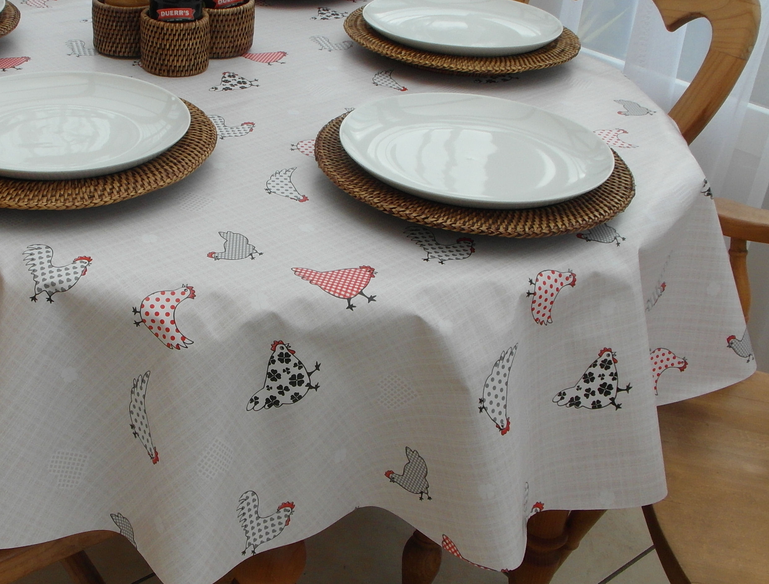 Oval Wipe Clean Tablecloth U2013 Chickens