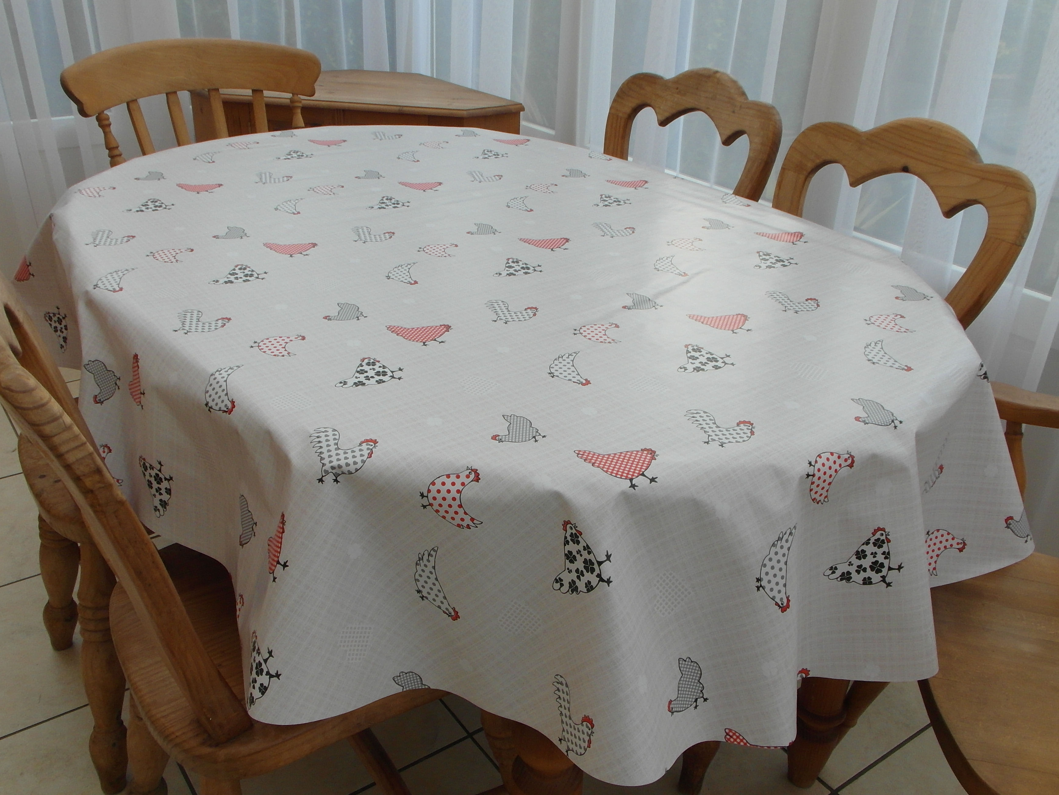Oval Wipe Clean Tablecloth Chickens The Tablecloth Company