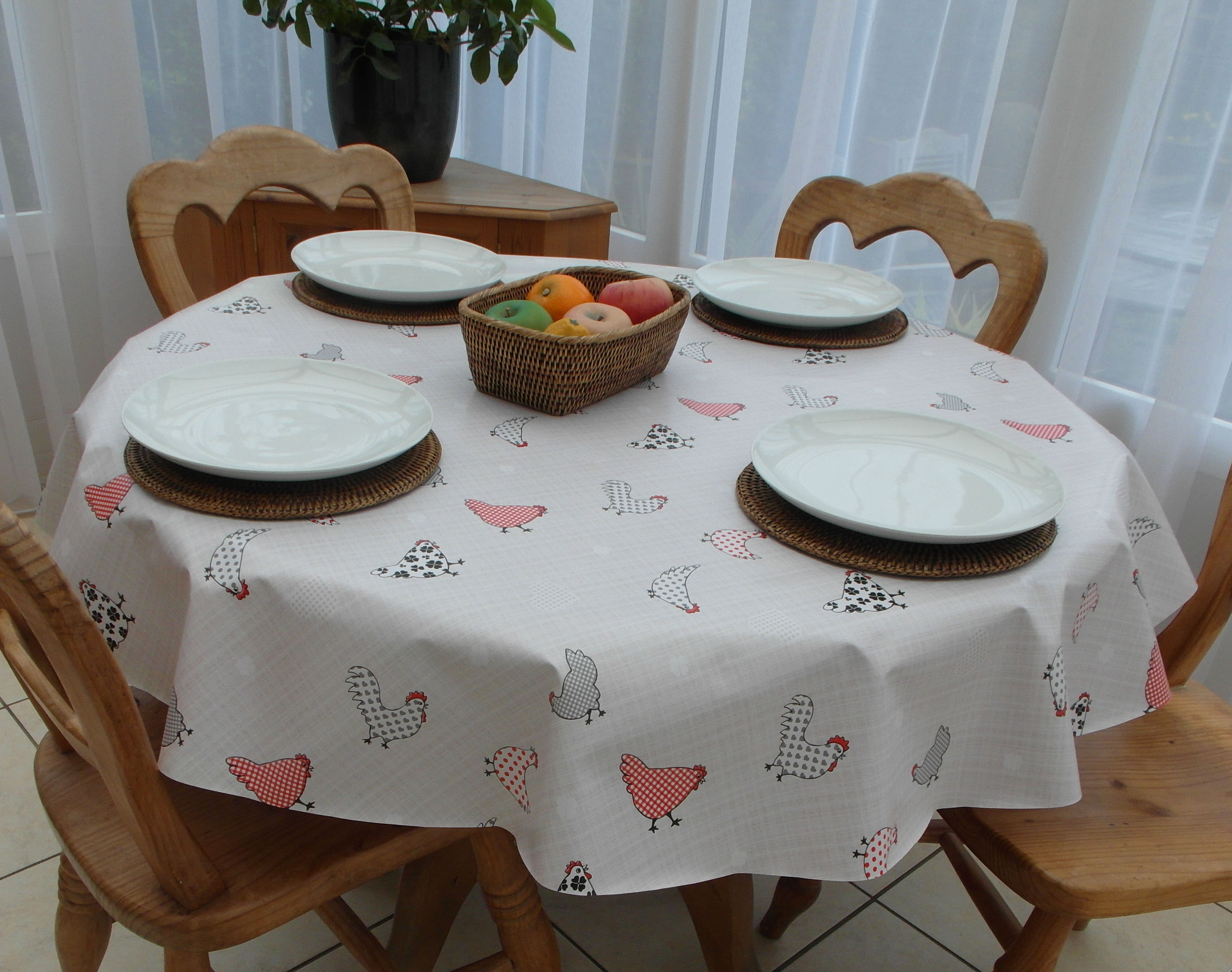 Round Wipe Clean Tablecloth Chickens The Tablecloth