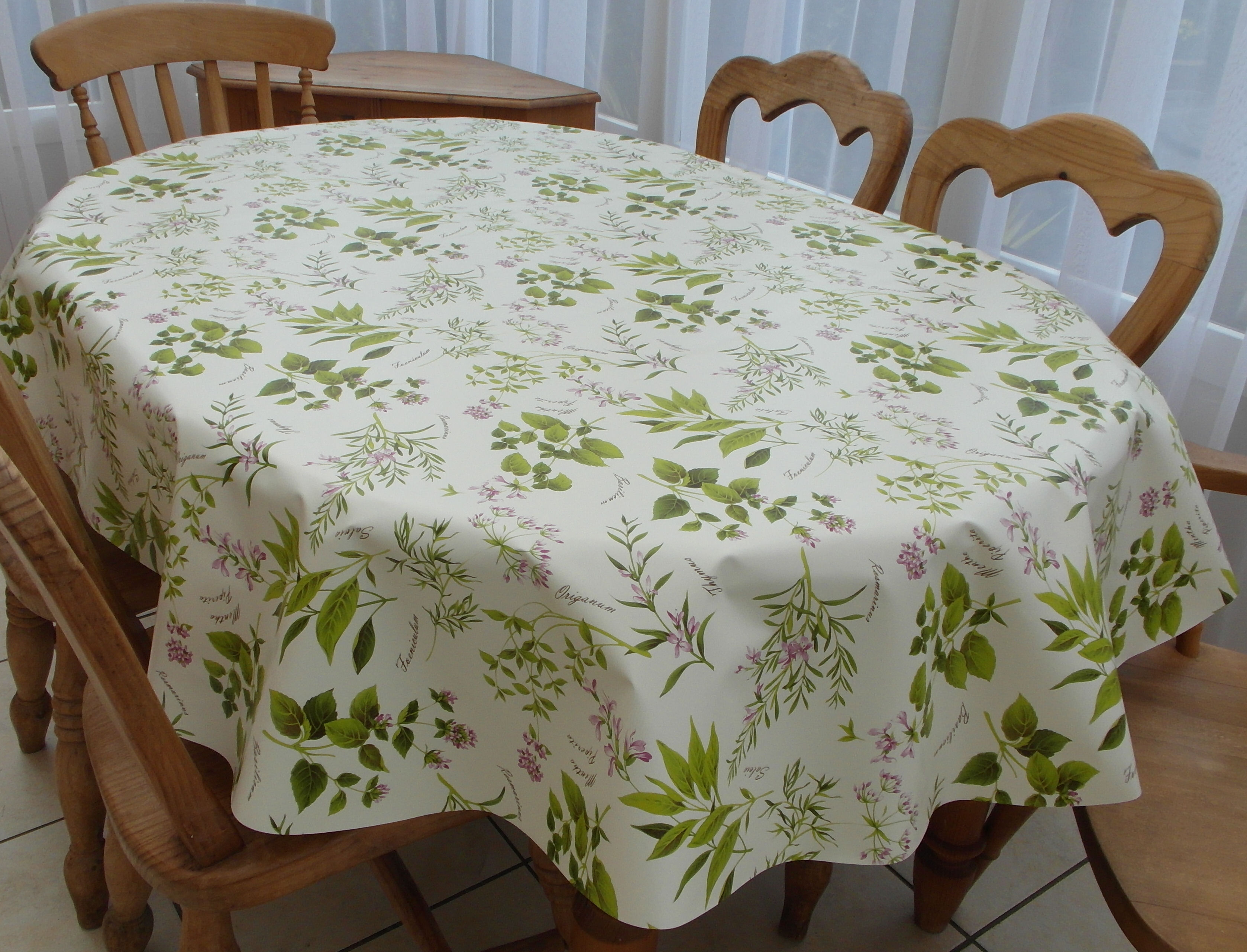 Oval Wipe Clean Tablecloth Herb Garden The Tablecloth