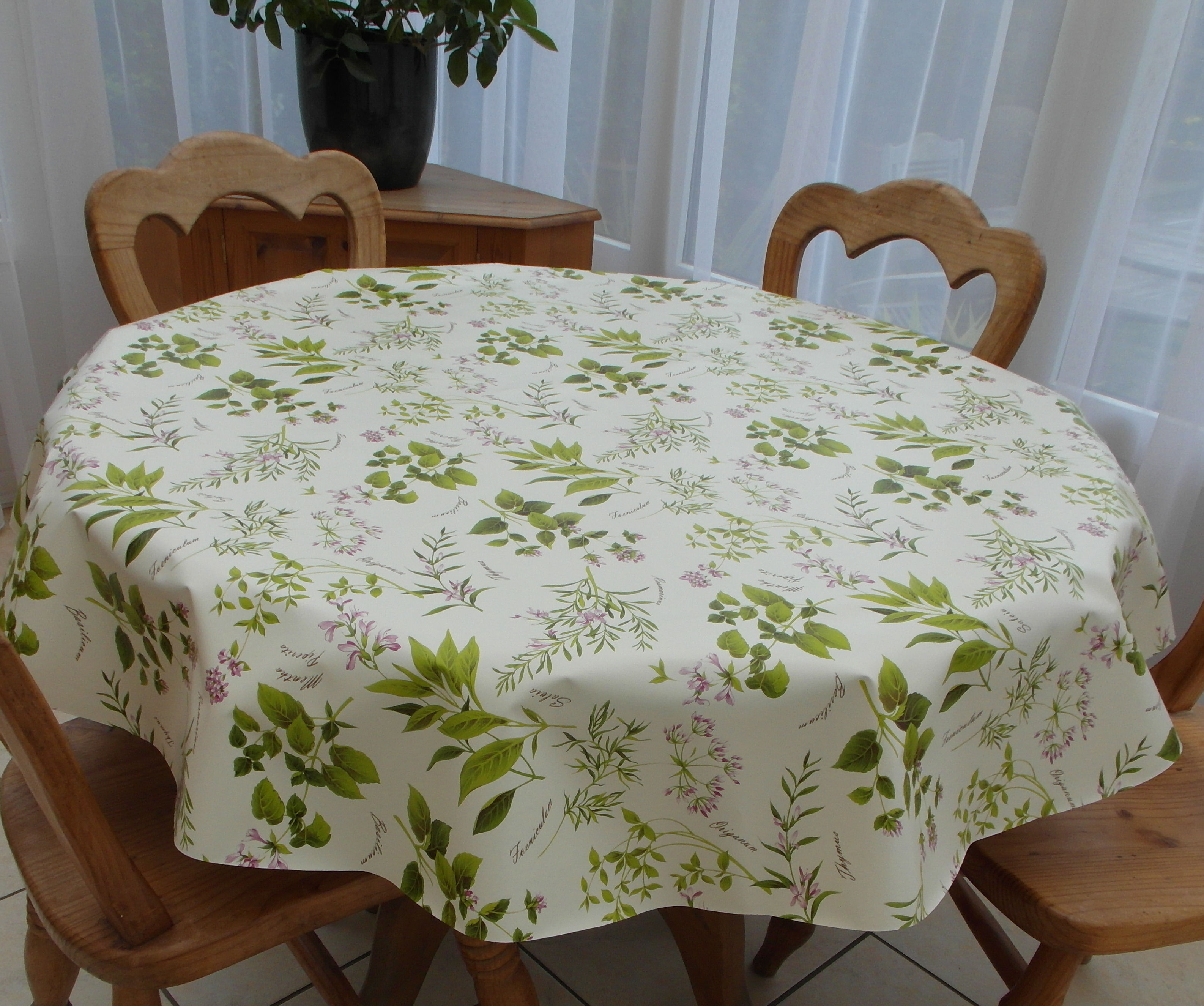 Round Wipe Clean Tablecloth Herb Garden The Tablecloth