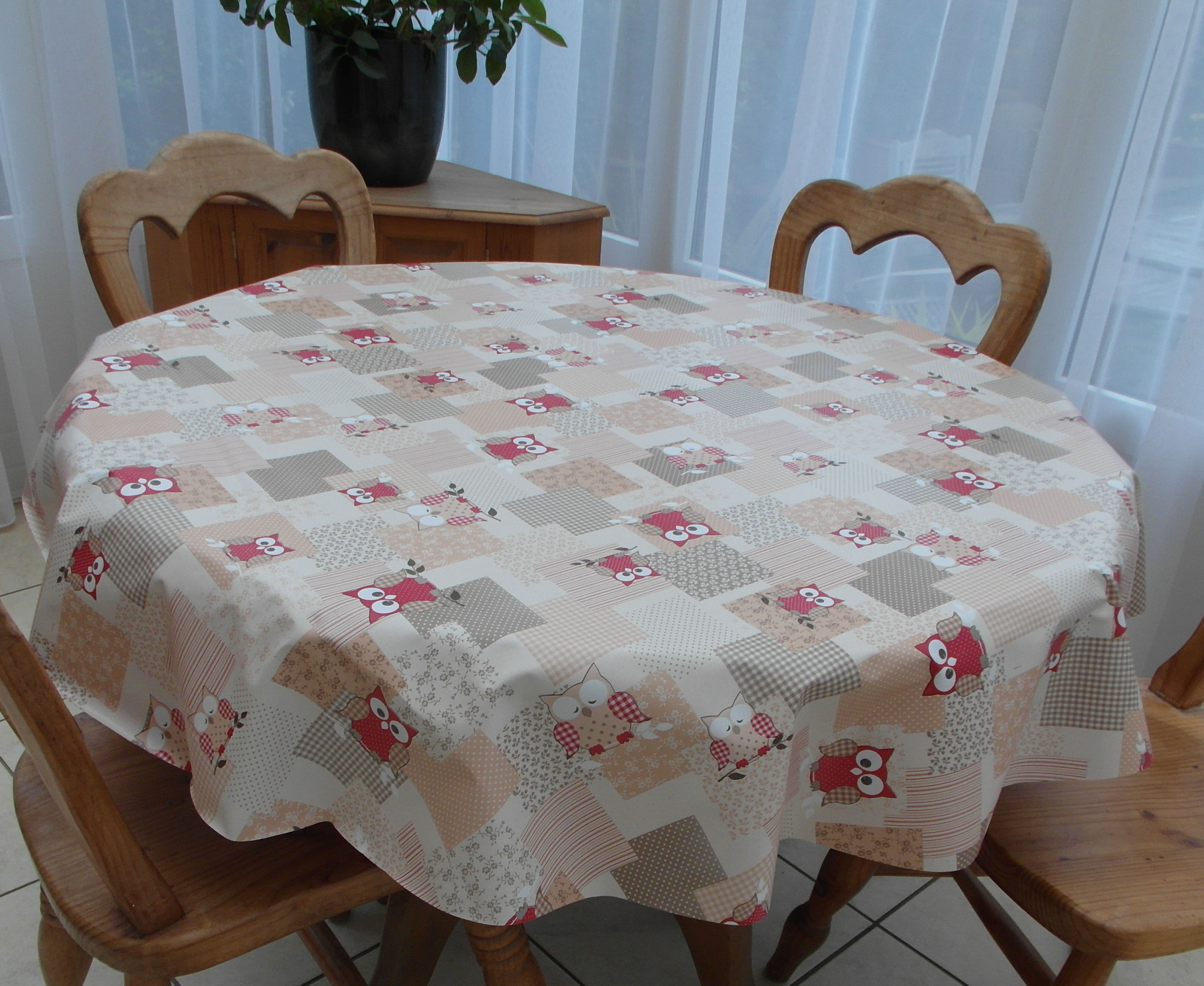 Round Wipe Clean Tablecloth Red Owls The Tablecloth