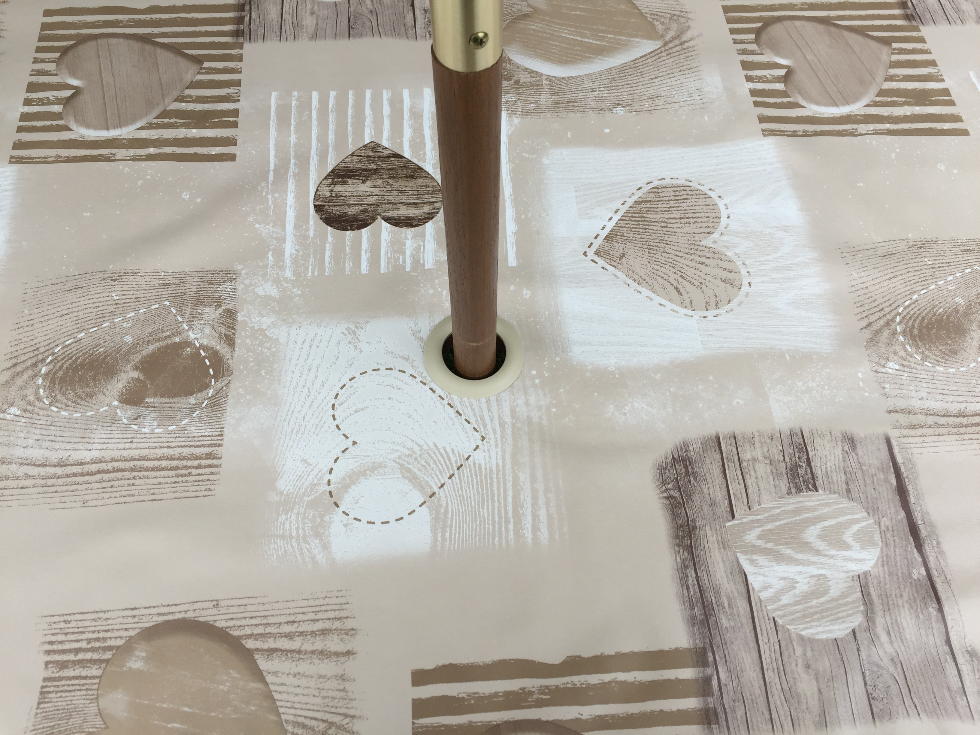 Round Wipe Clean Tablecloth With Parasol Hole Beige