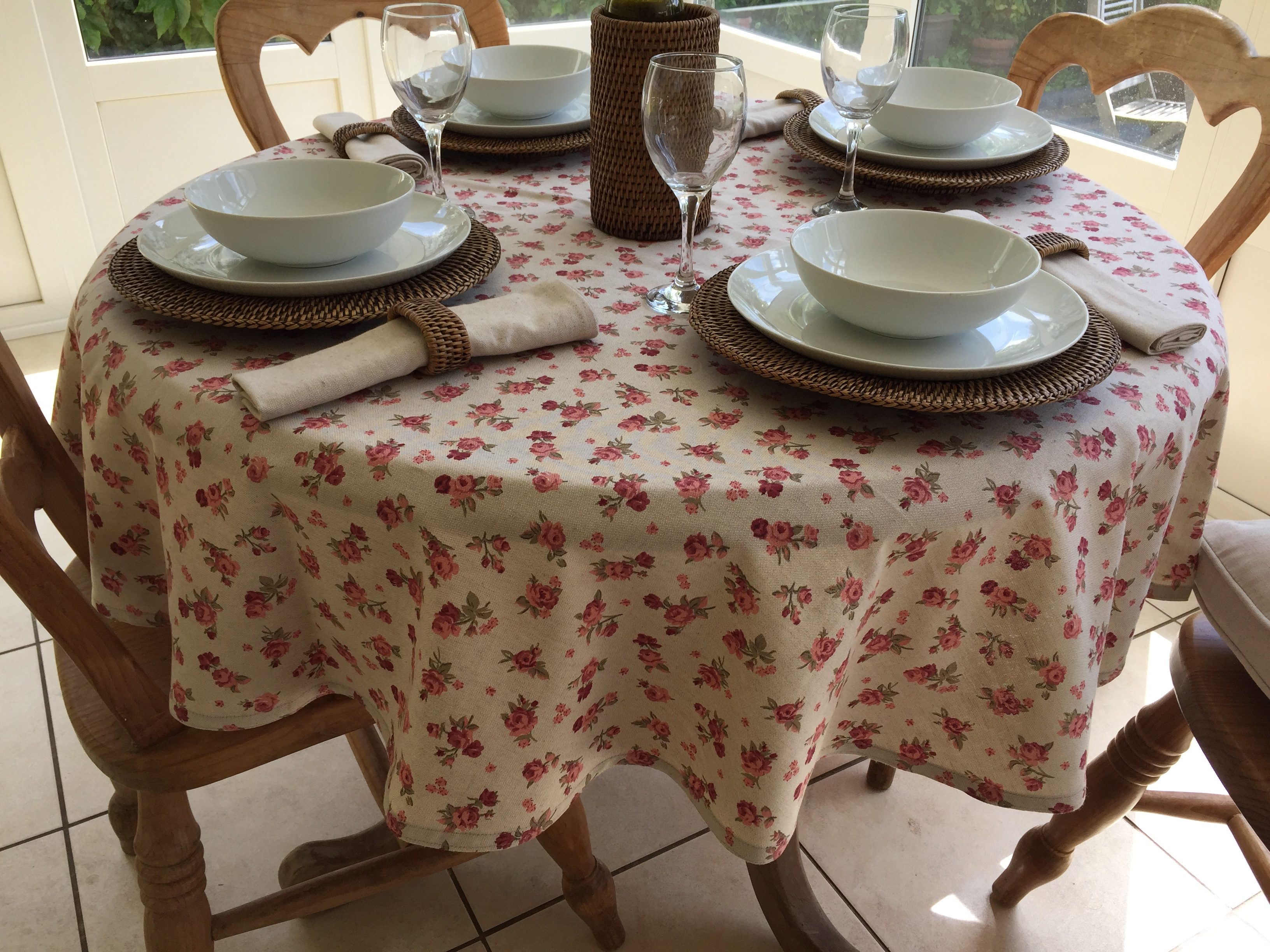 25 Off Natural Collection 4 Seater Round Pink Flowers