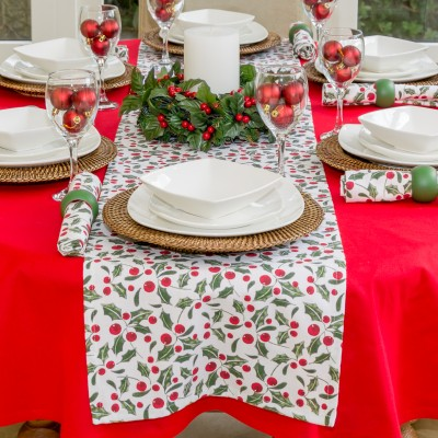 CHRISTMAS RED & GREEN HOLLY RUNNER ON COTTON RED TABLECLOTH