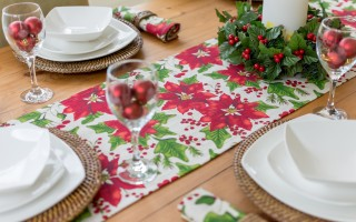 CHRISTMAS RED POINSETTIA RUNNER