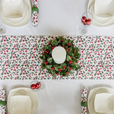 CHRISTMAS RED & GREEN HOLLY RUNNER ON COTTON WHITE TABLECLOTH