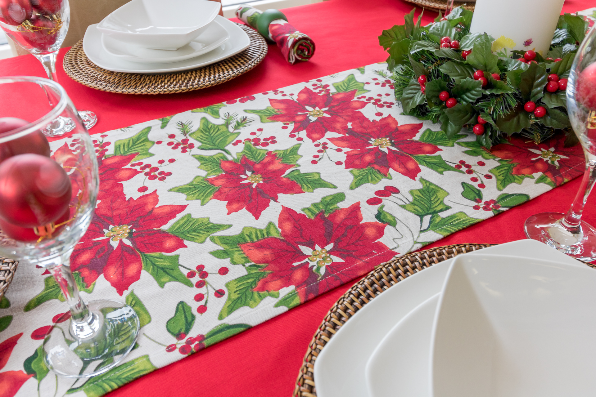 Christmas Red Poinsettia Table Runner The Tablecloth Company
