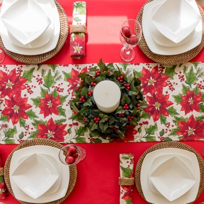 CHRISTMAS POINSETTIA RUNNER ON COTTON RED TABLECLOTH