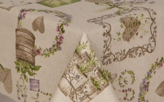ACRYLIC COATED COTTAGE HERB  TABLECLOTH