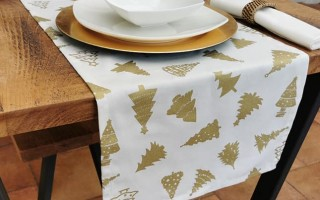 CREAM AND GOLD CHRISTMAS TREE TABLE RUNNER