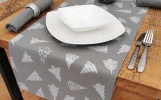 GREY AND SILVER TREES TABLE RUNNER